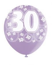 30th Birthday Pink Glitz Latex Balloons 12 inch